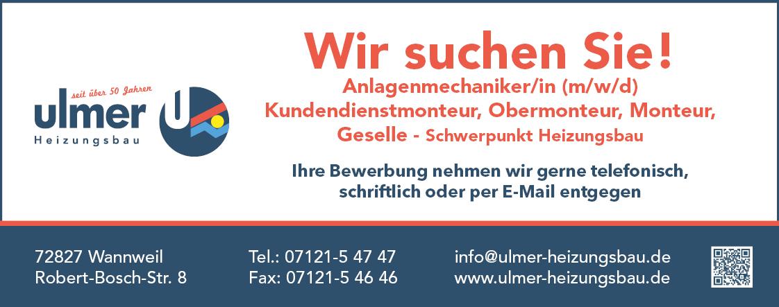Ulmer Heizungsbau in Reutlingen, Tübingen, Mössingen